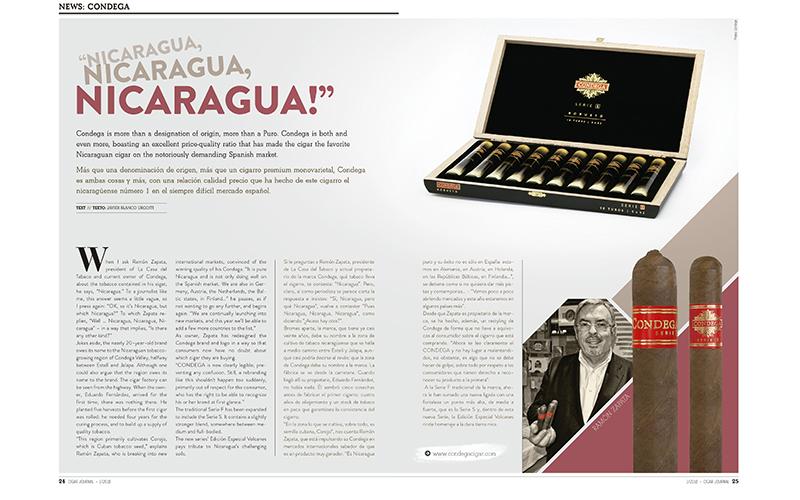 CIGAR JOURNAL ANNOUNCES THE SUCCESS OF CONDEGA CIGARS